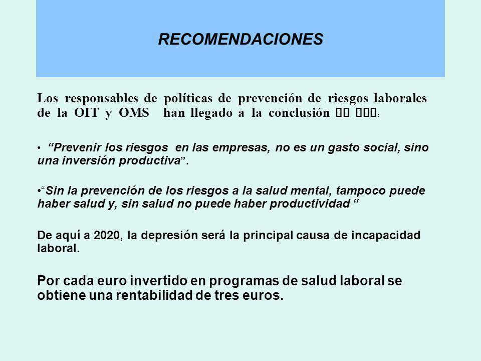 RECOMENDACIONES Los responsables de políticas de prevención de riesgos laborales de la OIT y OMS han llegado a la conclusión de que : Prevenir los rie