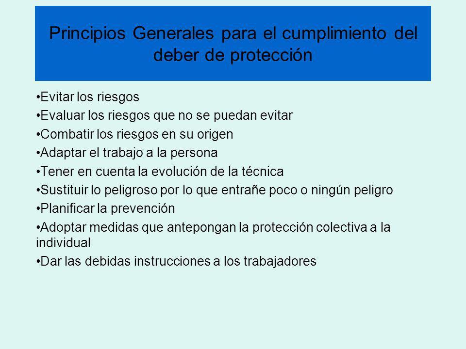 Principios Generales para el cumplimiento del deber de protección Evitar los riesgos Evaluar los riesgos que no se puedan evitar Combatir los riesgos