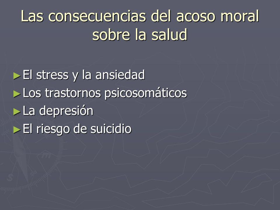 Las consecuencias del acoso moral sobre la salud El stress y la ansiedad El stress y la ansiedad Los trastornos psicosomáticos Los trastornos psicosom
