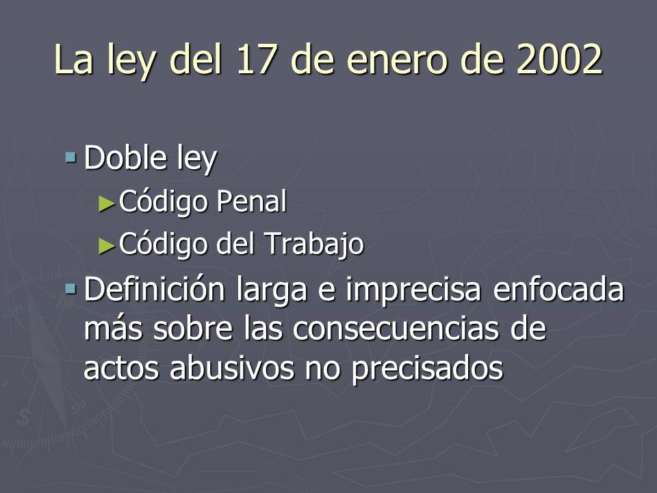 La ley del 17 de enero de 2002 Doble ley Doble ley Código Penal Código Penal Código del Trabajo Código del Trabajo Definición larga e imprecisa enfoca