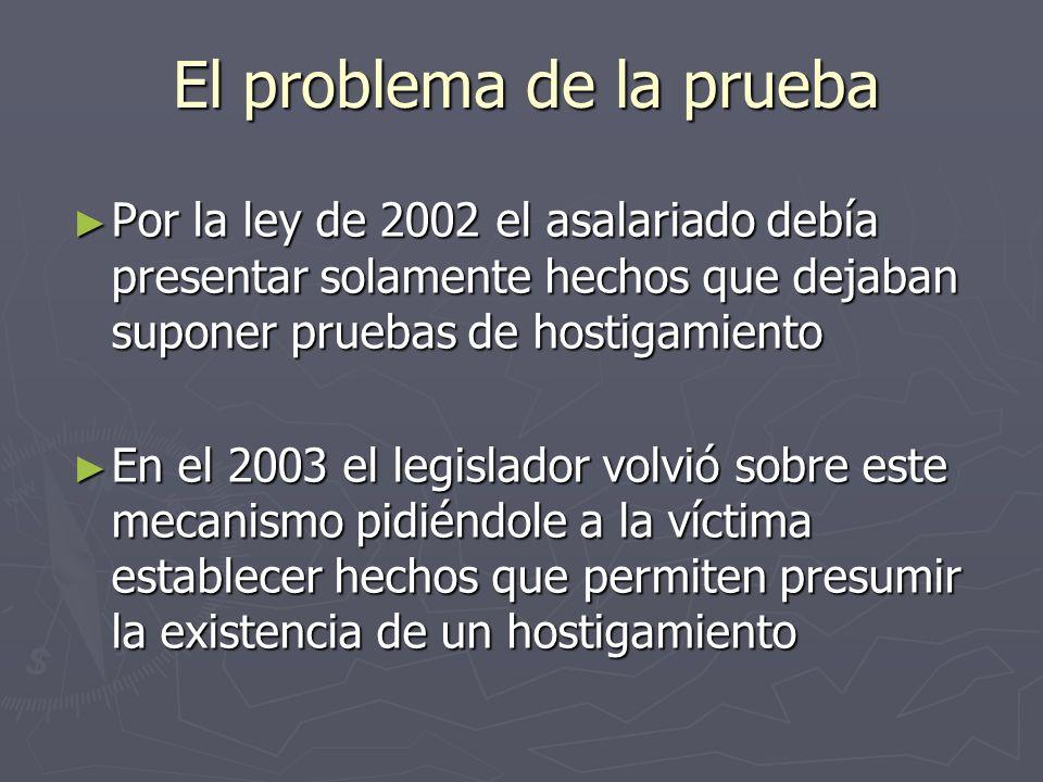 El problema de la prueba Por la ley de 2002 el asalariado debía presentar solamente hechos que dejaban suponer pruebas de hostigamiento Por la ley de