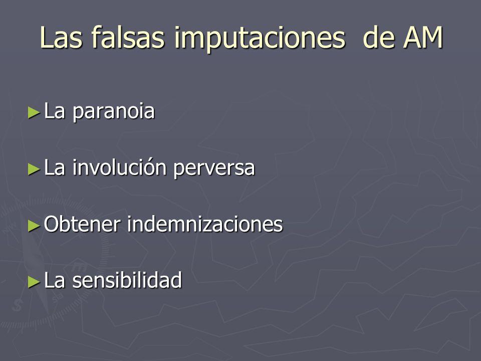 Las falsas imputaciones de AM La paranoia La paranoia La involución perversa La involución perversa Obtener indemnizaciones Obtener indemnizaciones La