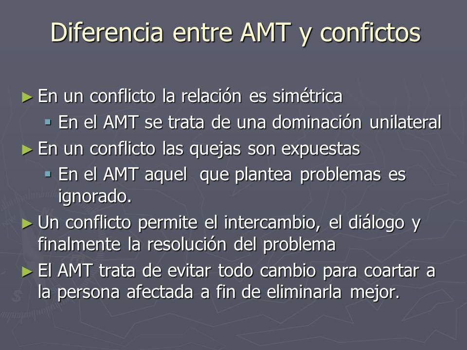 Diferencia entre AMT y confictos En un conflicto la relación es simétrica En un conflicto la relación es simétrica En el AMT se trata de una dominació