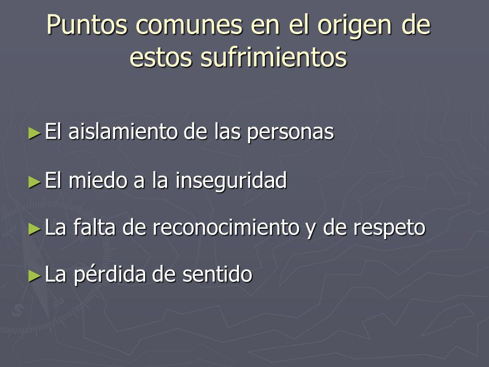 Puntos comunes en el origen de estos sufrimientos El aislamiento de las personas El aislamiento de las personas El miedo a la inseguridad El miedo a l