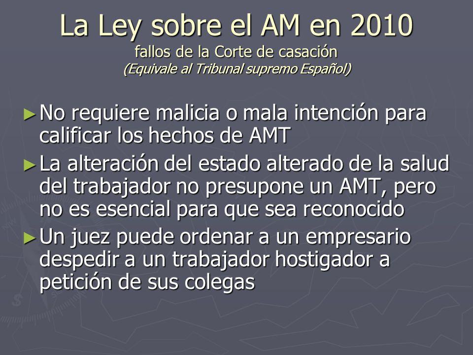 La Ley sobre el AM en 2010 fallos de la Corte de casación (Equivale al Tribunal supremo Español) No requiere malicia o mala intención para calificar l