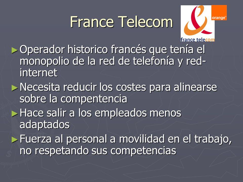 France Telecom Operador historico francés que tenía el monopolio de la red de telefonía y red- internet Operador historico francés que tenía el monopo