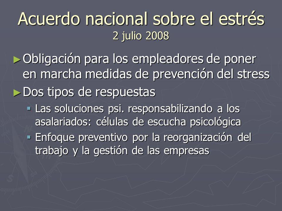 Acuerdo nacional sobre el estrés 2 julio 2008 Obligación para los empleadores de poner en marcha medidas de prevención del stress Obligación para los