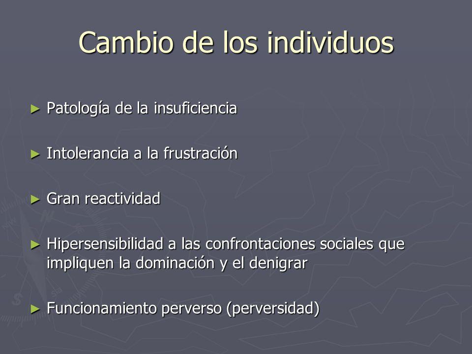 Cambio de los individuos Patología de la insuficiencia Patología de la insuficiencia Intolerancia a la frustración Intolerancia a la frustración Gran