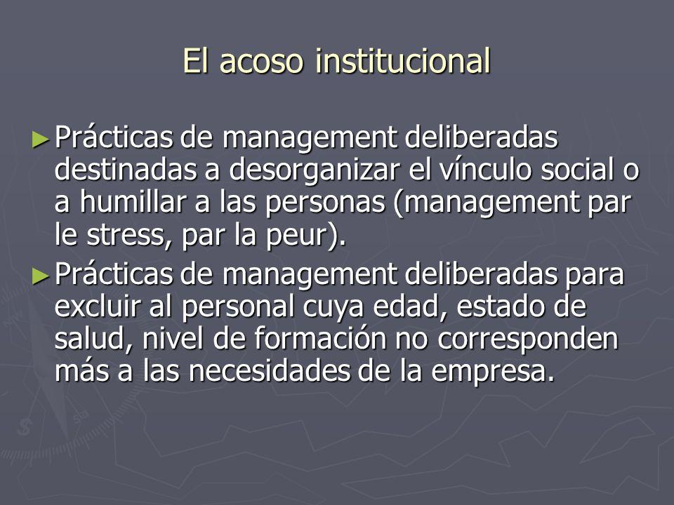El acoso institucional Prácticas de management deliberadas destinadas a desorganizar el vínculo social o a humillar a las personas (management par le