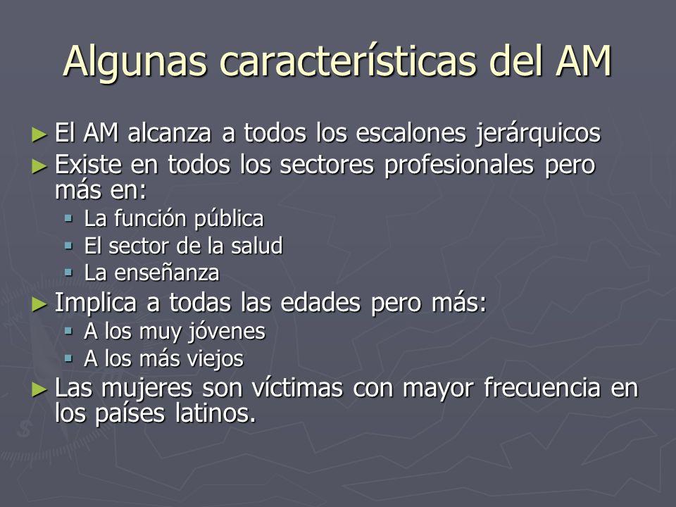 Algunas características del AM El AM alcanza a todos los escalones jerárquicos El AM alcanza a todos los escalones jerárquicos Existe en todos los sec