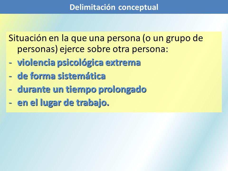 Situación en la que una persona (o un grupo de personas) ejerce sobre otra persona: -violencia psicológica extrema -de forma sistemática -durante un t