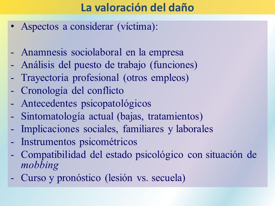 Aspectos a considerar (víctima): -Anamnesis sociolaboral en la empresa -Análisis del puesto de trabajo (funciones) -Trayectoria profesional (otros emp
