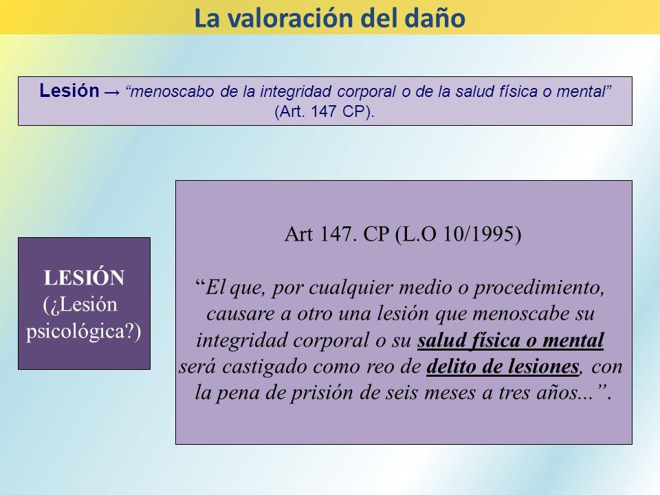 LESIÓN (¿Lesión psicológica?) Art 147. CP (L.O 10/1995) El que, por cualquier medio o procedimiento, causare a otro una lesión que menoscabe su integr