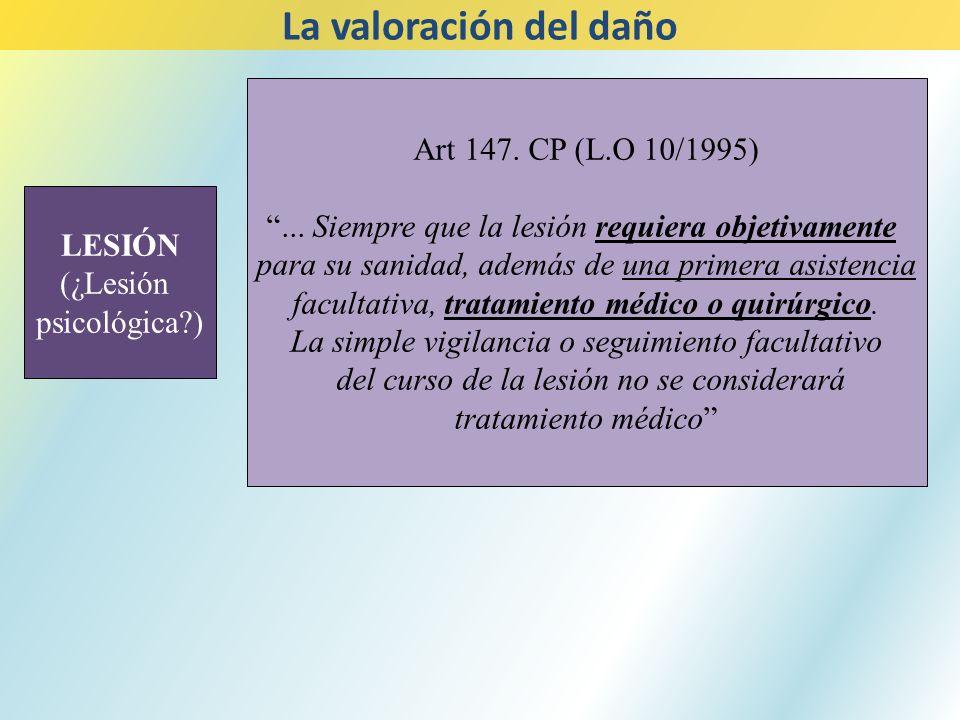 LESIÓN (¿Lesión psicológica?) La valoración del daño Art 147. CP (L.O 10/1995)... Siempre que la lesión requiera objetivamente para su sanidad, además