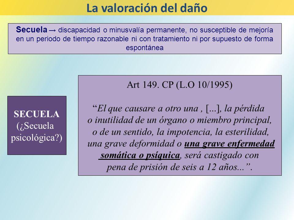 SECUELA (¿Secuela psicológica?) Art 149. CP (L.O 10/1995) El que causare a otro una, [...], la pérdida o inutilidad de un órgano o miembro principal,