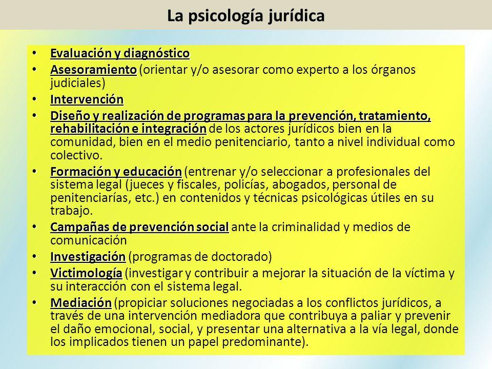 Evaluación y diagnóstico Evaluación y diagnóstico Asesoramiento Asesoramiento (orientar y/o asesorar como experto a los órganos judiciales) Intervenci