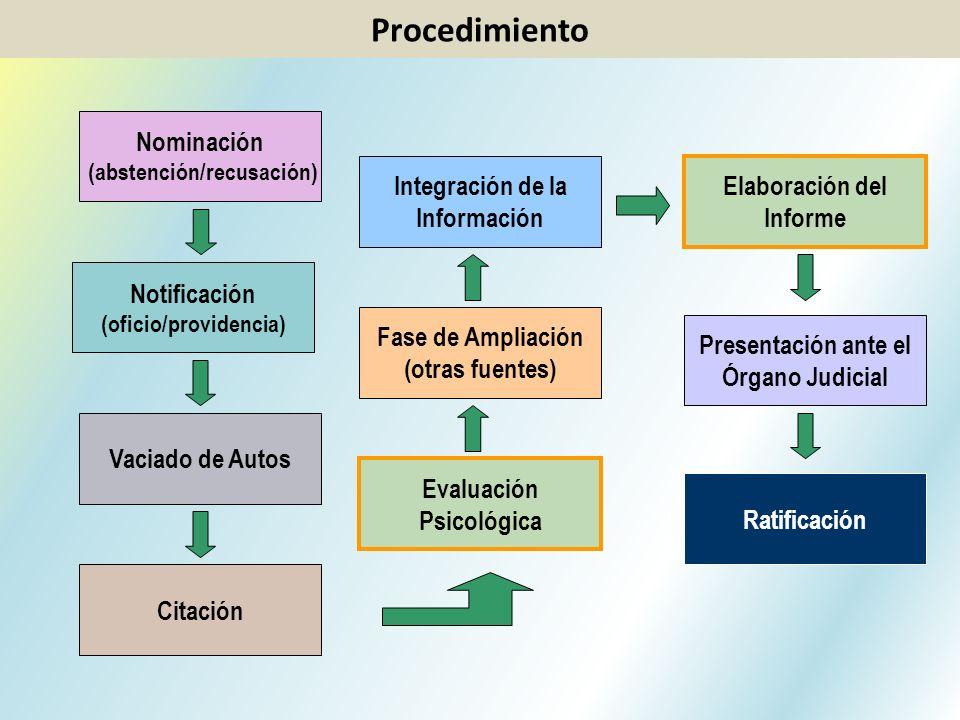 Nominación (abstención/recusación) Citación Notificación (oficio/providencia) Vaciado de Autos Evaluación Psicológica Fase de Ampliación (otras fuente