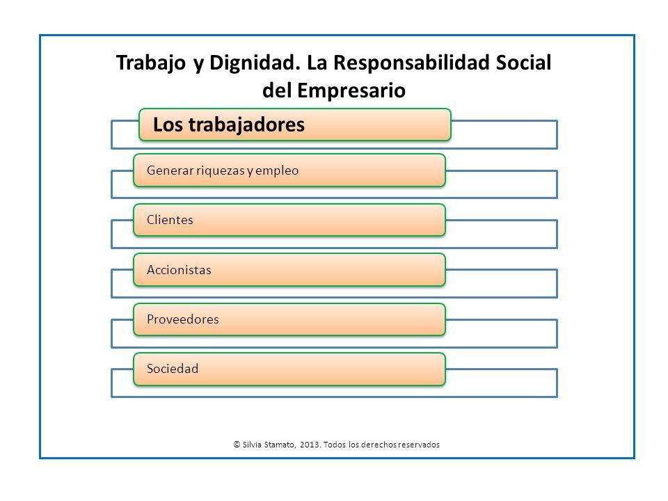 Los trabajadores Generar riquezas y empleoClientesAccionistasProveedoresSociedad Trabajo y Dignidad. La Responsabilidad Social del Empresario