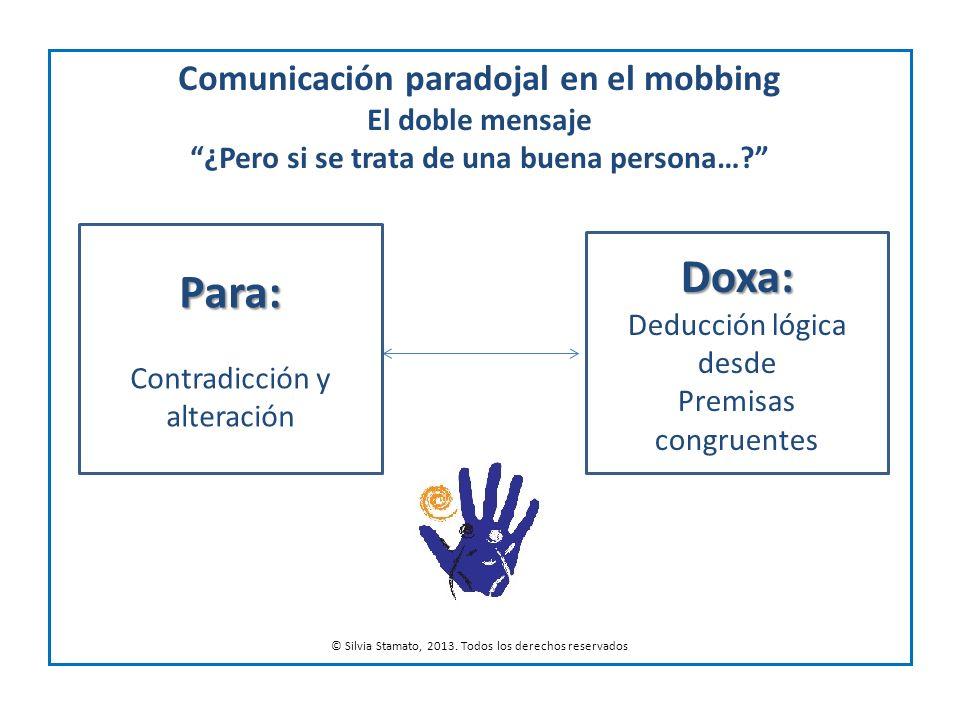 Comunicación paradojal en el mobbing El doble mensaje ¿Pero si se trata de una buena persona…? © Silvia Stamato, 2013. Todos los derechos reservados D