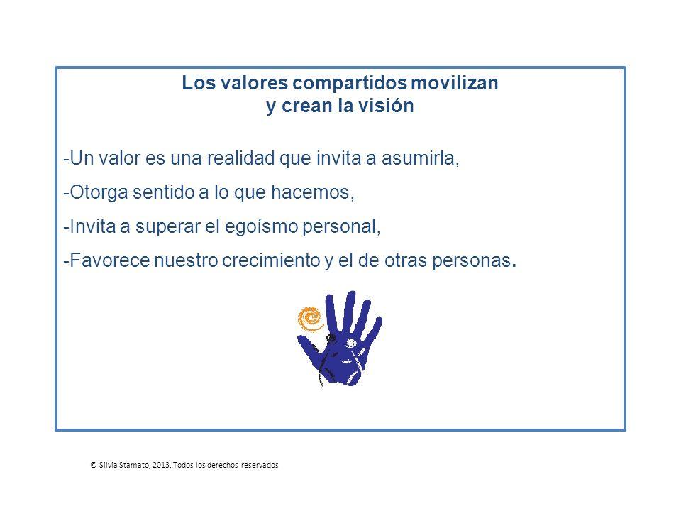 Los valores compartidos movilizan y crean la visión -Un valor es una realidad que invita a asumirla, -Otorga sentido a lo que hacemos, -Invita a super
