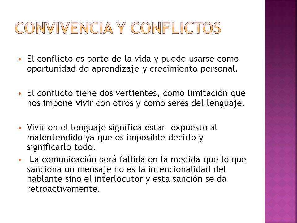 El conflicto es parte de la vida y puede usarse como oportunidad de aprendizaje y crecimiento personal. El conflicto tiene dos vertientes, como limita