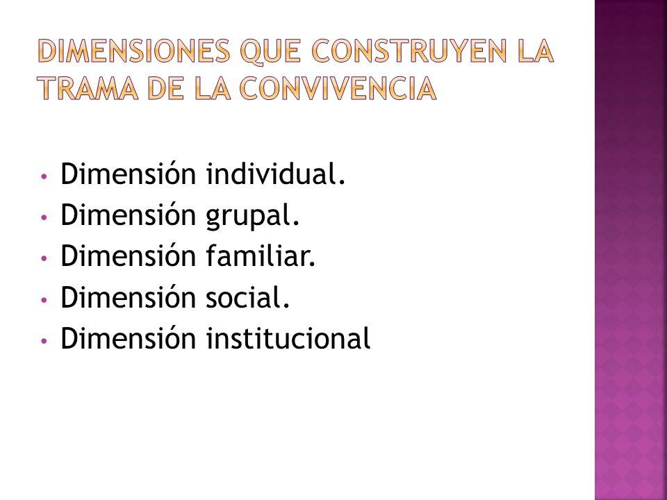 Dimensión individual. Dimensión grupal. Dimensión familiar. Dimensión social. Dimensión institucional