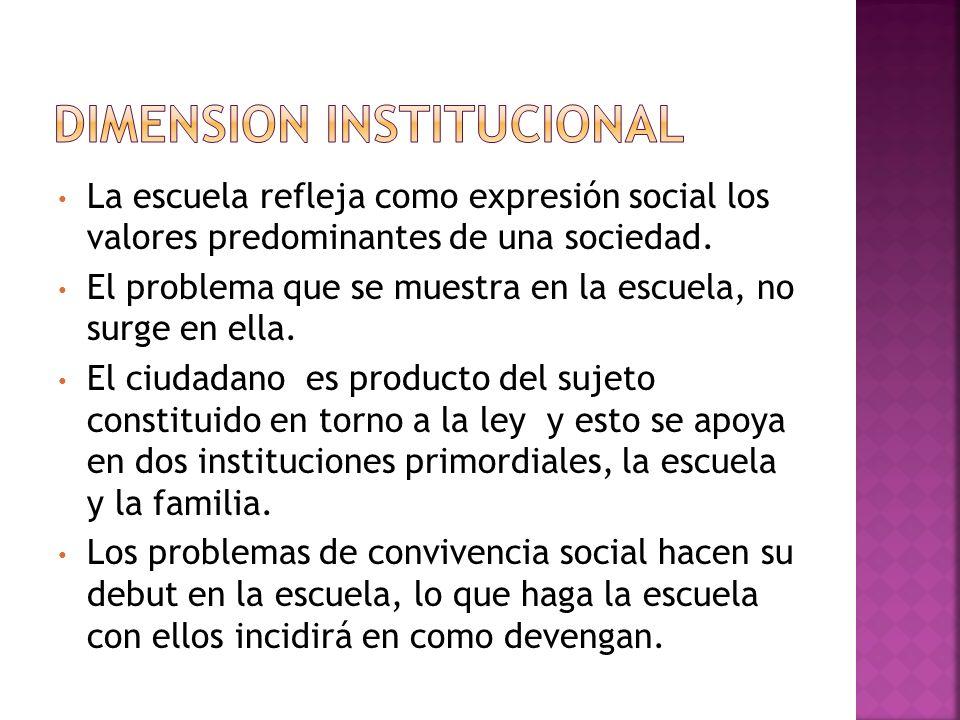 La escuela refleja como expresión social los valores predominantes de una sociedad. El problema que se muestra en la escuela, no surge en ella. El ciu