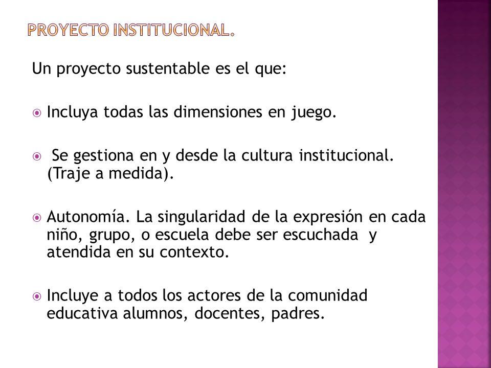 Un proyecto sustentable es el que: Incluya todas las dimensiones en juego. Se gestiona en y desde la cultura institucional. (Traje a medida). Autonomí