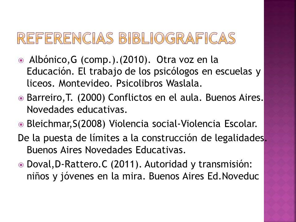 Albónico,G (comp.).(2010). Otra voz en la Educación. El trabajo de los psicólogos en escuelas y liceos. Montevideo. Psicolibros Waslala. Barreiro,T. (