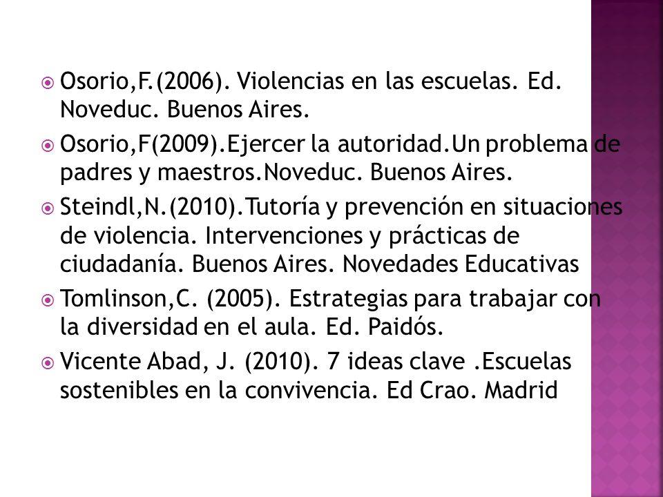 Osorio,F.(2006). Violencias en las escuelas. Ed. Noveduc. Buenos Aires. Osorio,F(2009).Ejercer la autoridad.Un problema de padres y maestros.Noveduc.