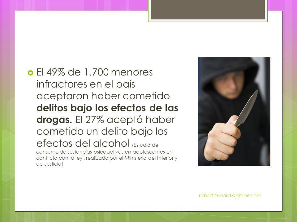 El 49% de 1.700 menores infractores en el país aceptaron haber cometido delitos bajo los efectos de las drogas.