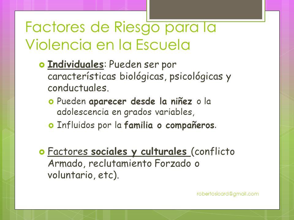 Factores de Riesgo para la Violencia en la Escuela Individuales: Pueden ser por características biológicas, psicológicas y conductuales.