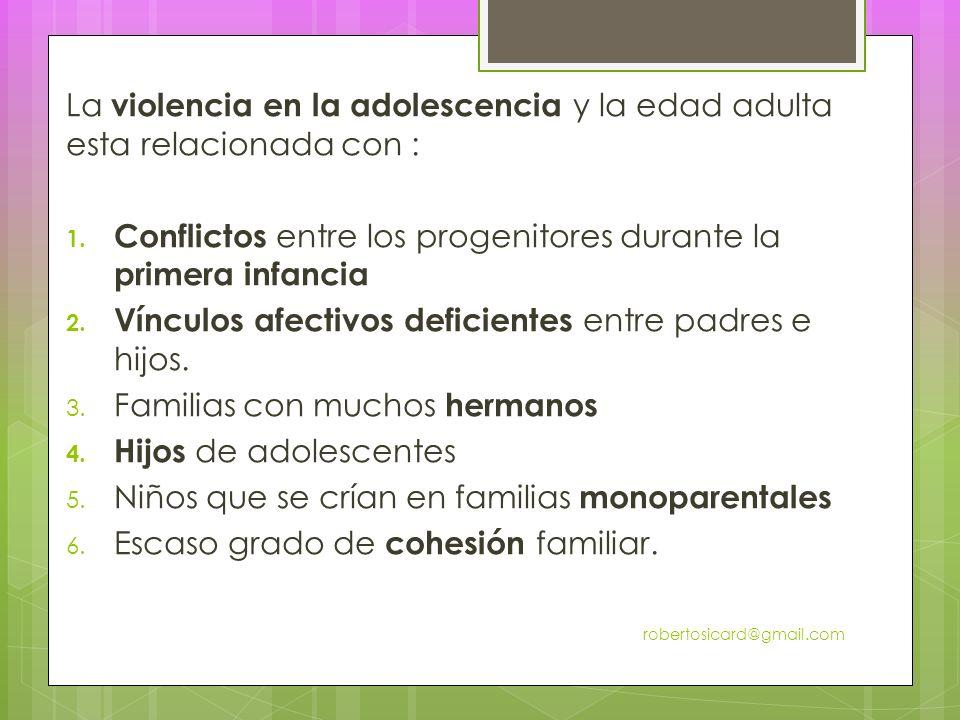 La violencia en la adolescencia y la edad adulta esta relacionada con : 1.