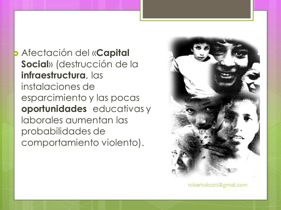 Afectación del « Capital Social » (destrucción de la infraestructura, las instalaciones de esparcimiento y las pocas oportunidades educativas y laborales aumentan las probabilidades de comportamiento violento).