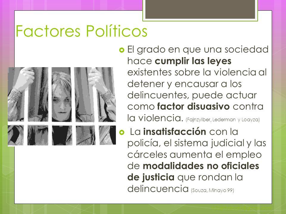 Factores Políticos El grado en que una sociedad hace cumplir las leyes existentes sobre la violencia al detener y encausar a los delincuentes, puede actuar como factor disuasivo contra la violencia.
