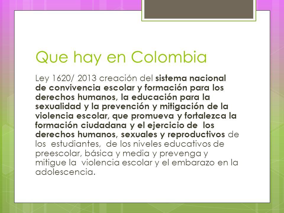 Que hay en Colombia Ley 1620/ 2013 creación del sistema nacional de convivencia escolar y formación para los derechos humanos, la educación para la sexualidad y la prevención y mitigación de la violencia escolar, que promueva y fortalezca la formación ciudadana y el ejercicio de los derechos humanos, sexuales y reproductivos de los estudiantes, de los niveles educativos de preescolar, básica y media y prevenga y mitigue la violencia escolar y el embarazo en la adolescencia.