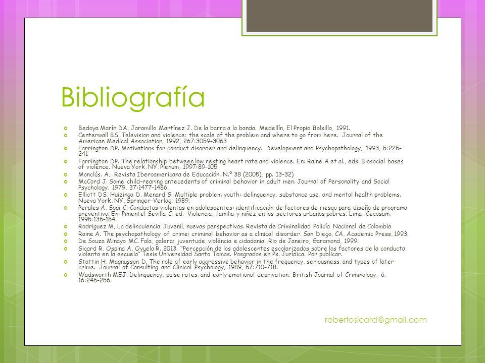 Bibliografía Bedoya Marín DA, Jaramillo Martínez J.