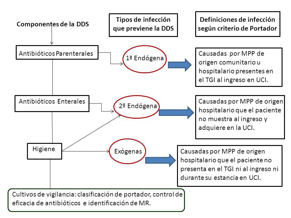 Componentes de la DDS Antibióticos Parenterales Tipos de infección que previene la DDS 1ª Endógena Definiciones de infección según criterio de Portador Causadas por MPP de origen comunitario u hospitalario presentes en el TGI al ingreso en UCI.