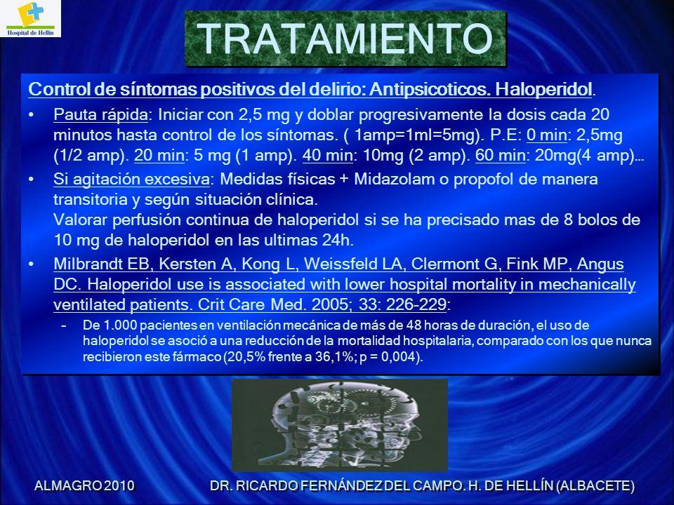 Control de síntomas positivos del delirio: Antipsicoticos. Haloperidol. Pauta rápida: Iniciar con 2,5 mg y doblar progresivamente la dosis cada 20 min