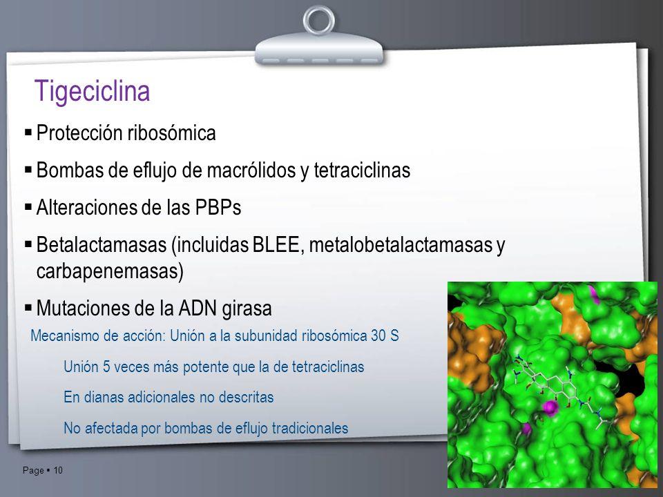 Page 10 Tigeciclina Protección ribosómica Bombas de eflujo de macrólidos y tetraciclinas Alteraciones de las PBPs Betalactamasas (incluidas BLEE, meta