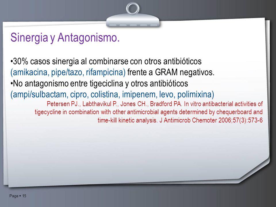 Page 15 Sinergia y Antagonismo. 30% casos sinergia al combinarse con otros antibióticos (amikacina, pipe/tazo, rifampicina) frente a GRAM negativos. N