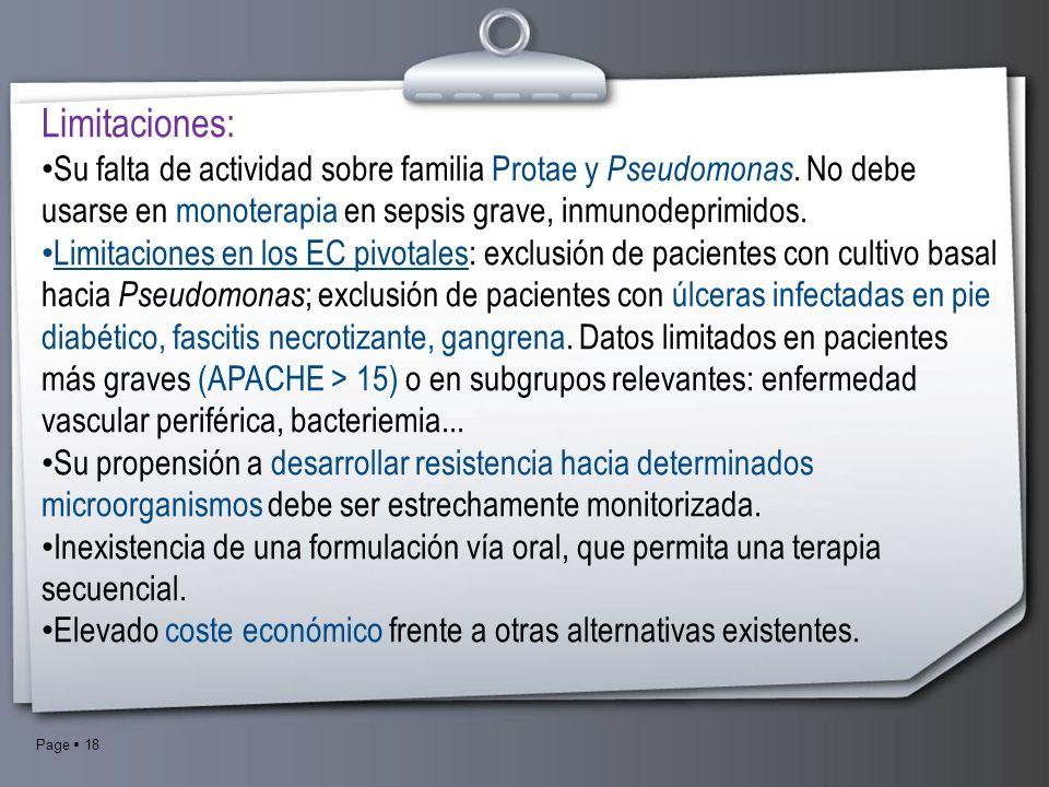 Page 18 Limitaciones: Su falta de actividad sobre familia Protae y Pseudomonas. No debe usarse en monoterapia en sepsis grave, inmunodeprimidos. Limit