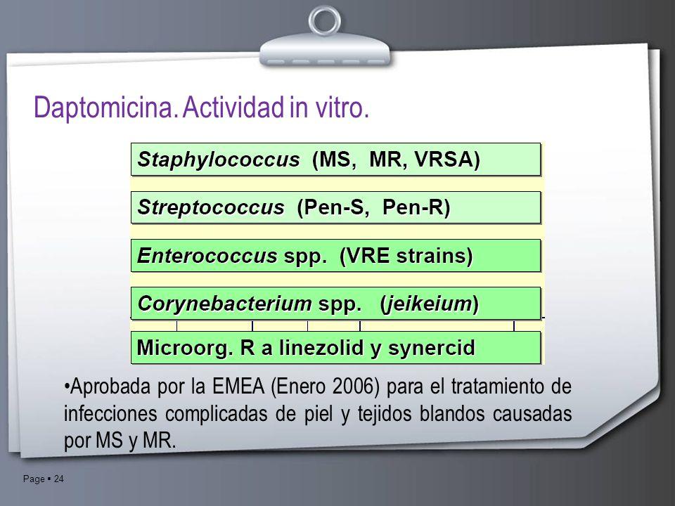 Page 24 Daptomicina. Actividad in vitro. Aprobada por la EMEA (Enero 2006) para el tratamiento de infecciones complicadas de piel y tejidos blandos ca