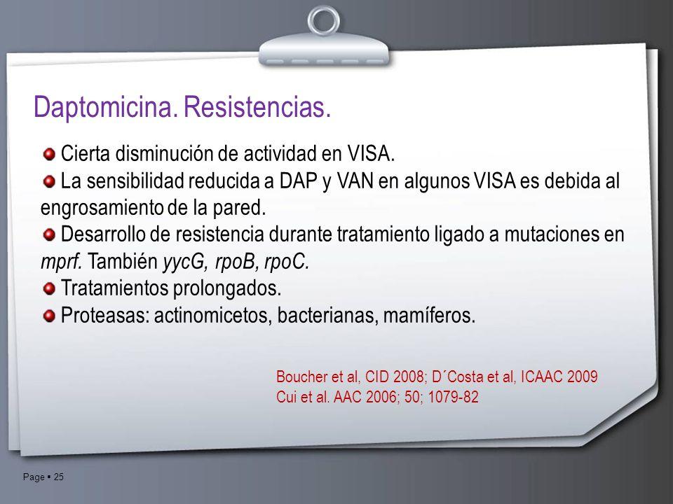 Page 25 Daptomicina. Resistencias. Cierta disminución de actividad en VISA. La sensibilidad reducida a DAP y VAN en algunos VISA es debida al engrosam