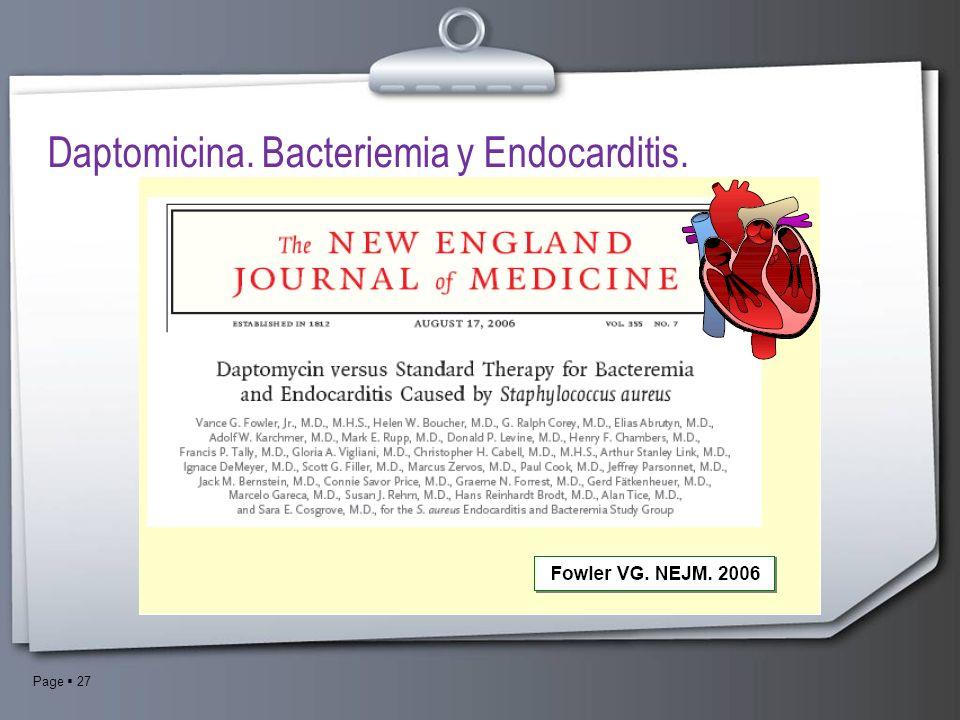 Page 27 Daptomicina. Bacteriemia y Endocarditis.