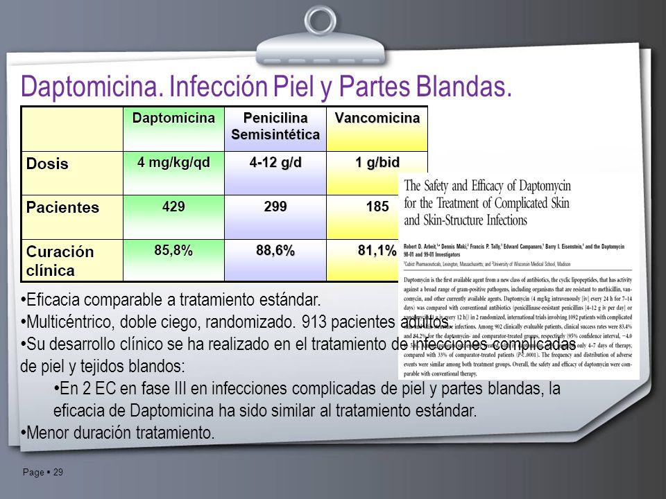 Page 29 Daptomicina. Infección Piel y Partes Blandas. Eficacia comparable a tratamiento estándar. Multicéntrico, doble ciego, randomizado. 913 pacient