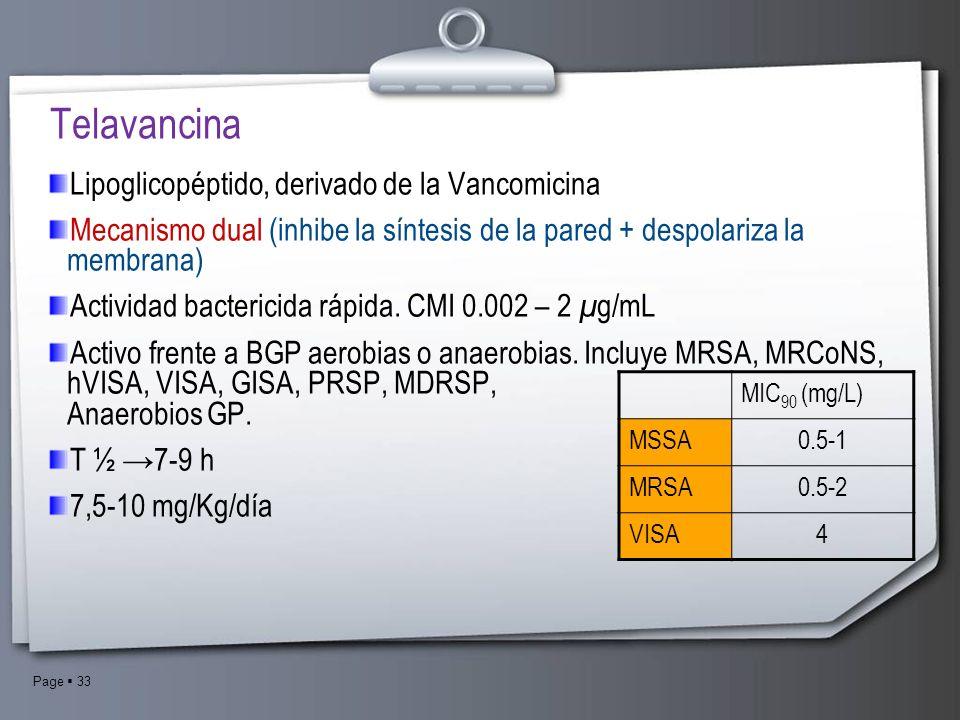 Page 33 Lipoglicopéptido, derivado de la Vancomicina Mecanismo dual (inhibe la síntesis de la pared + despolariza la membrana) Actividad bactericida r
