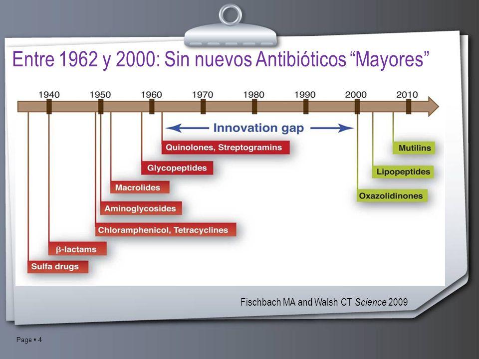 Page 4 Entre 1962 y 2000: Sin nuevos Antibióticos Mayores Fischbach MA and Walsh CT Science 2009