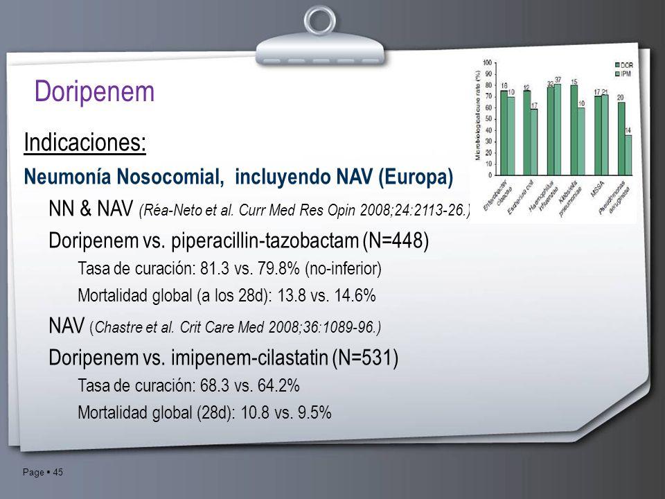 Page 45 Doripenem Indicaciones: Neumonía Nosocomial, incluyendo NAV (Europa) NN & NAV (Réa-Neto et al. Curr Med Res Opin 2008;24:2113-26.) Doripenem v