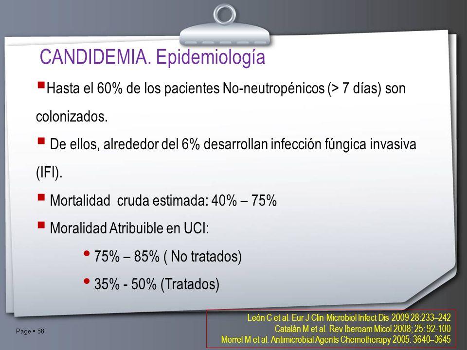 Page 58 CANDIDEMIA. Epidemiología Hasta el 60% de los pacientes No-neutropénicos (> 7 días) son colonizados. De ellos, alrededor del 6% desarrollan in